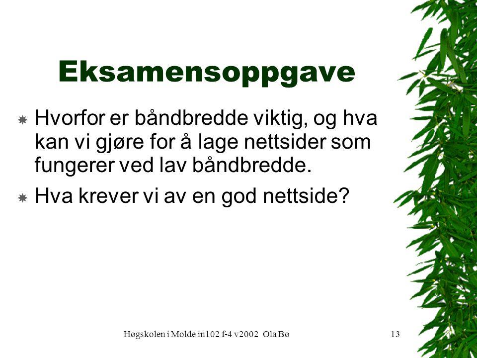 Høgskolen i Molde in102 f-4 v2002 Ola Bø13 Eksamensoppgave  Hvorfor er båndbredde viktig, og hva kan vi gjøre for å lage nettsider som fungerer ved lav båndbredde.