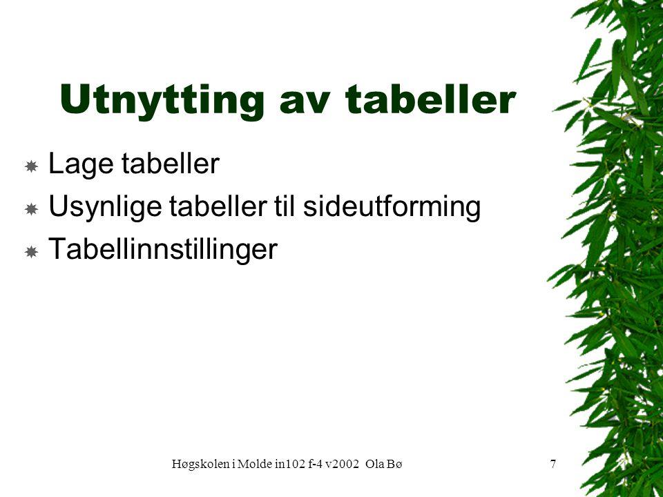 Høgskolen i Molde in102 f-4 v2002 Ola Bø7 Utnytting av tabeller  Lage tabeller  Usynlige tabeller til sideutforming  Tabellinnstillinger