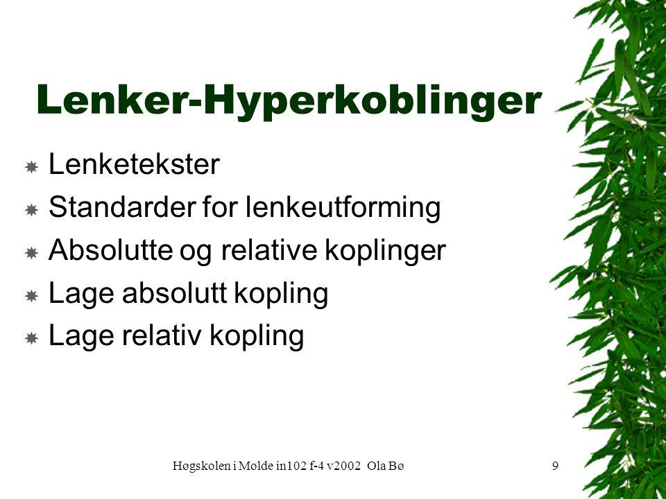 Høgskolen i Molde in102 f-4 v2002 Ola Bø9 Lenker-Hyperkoblinger  Lenketekster  Standarder for lenkeutforming  Absolutte og relative koplinger  Lage absolutt kopling  Lage relativ kopling