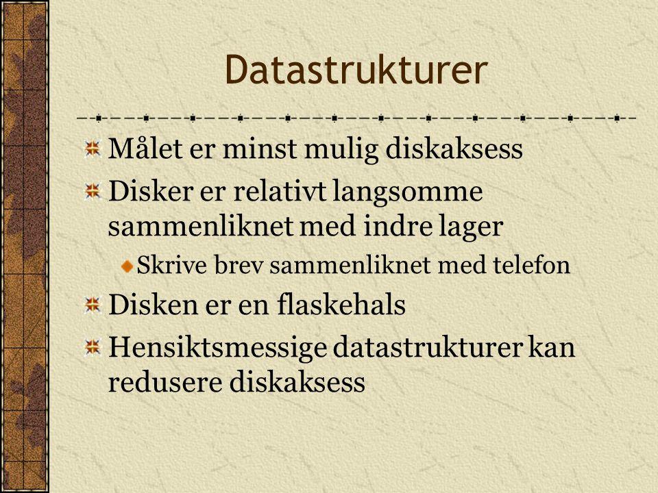 Datastrukturer Målet er minst mulig diskaksess Disker er relativt langsomme sammenliknet med indre lager Skrive brev sammenliknet med telefon Disken e