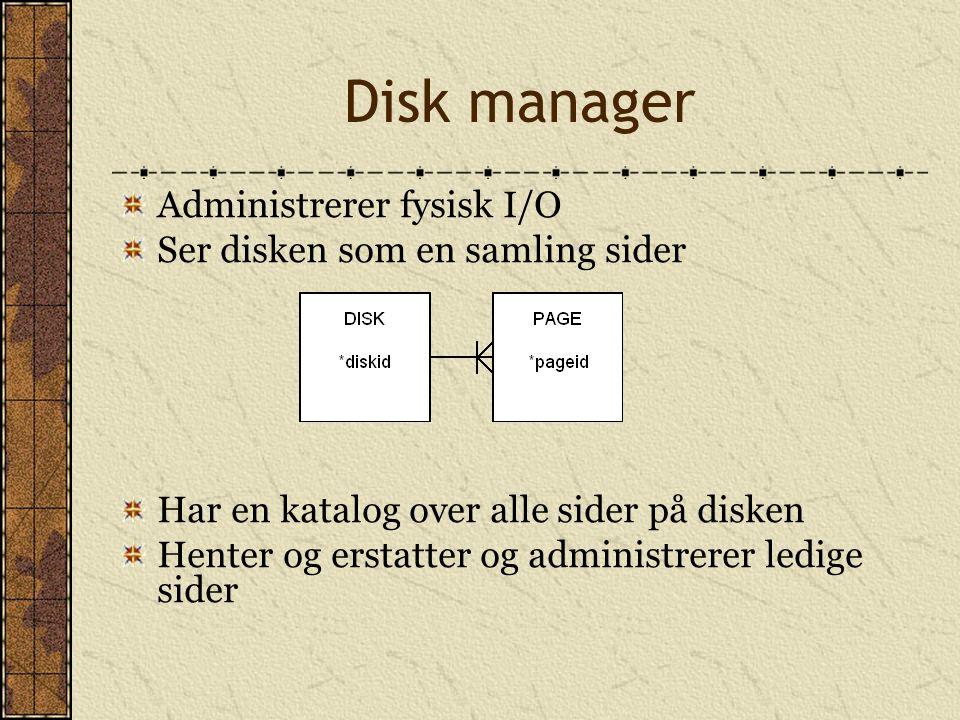 Disk manager Administrerer fysisk I/O Ser disken som en samling sider Har en katalog over alle sider på disken Henter og erstatter og administrerer le
