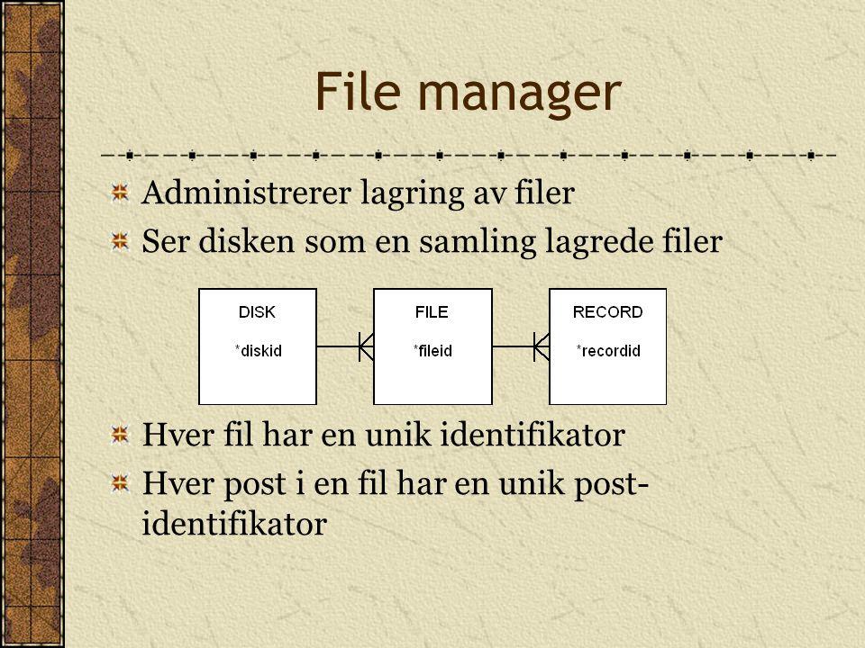 File manager Administrerer lagring av filer Ser disken som en samling lagrede filer Hver fil har en unik identifikator Hver post i en fil har en unik