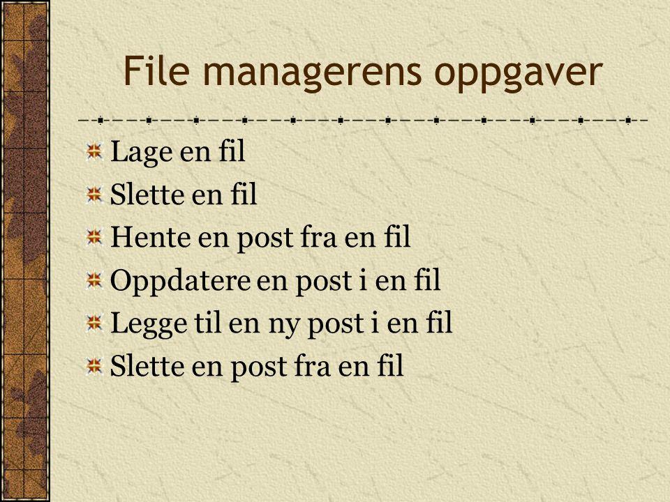 File managerens oppgaver Lage en fil Slette en fil Hente en post fra en fil Oppdatere en post i en fil Legge til en ny post i en fil Slette en post fr
