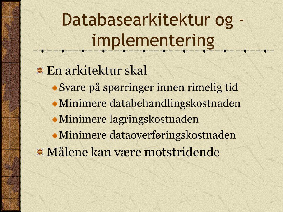 Databasearkitektur og - implementering En arkitektur skal Svare på spørringer innen rimelig tid Minimere databehandlingskostnaden Minimere lagringskos