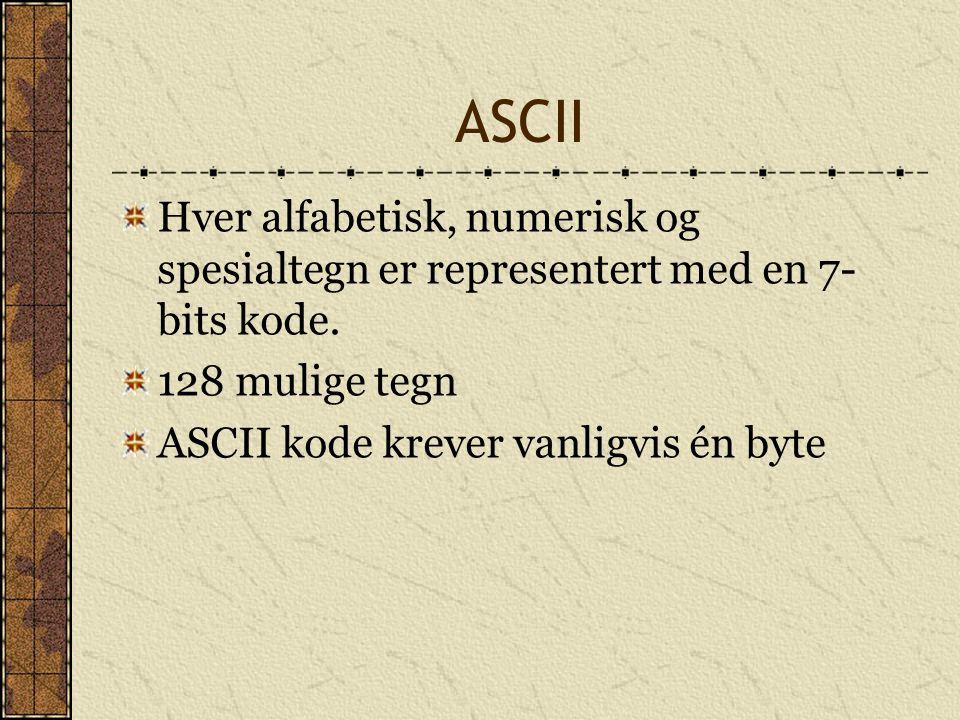 ASCII Hver alfabetisk, numerisk og spesialtegn er representert med en 7- bits kode. 128 mulige tegn ASCII kode krever vanligvis én byte