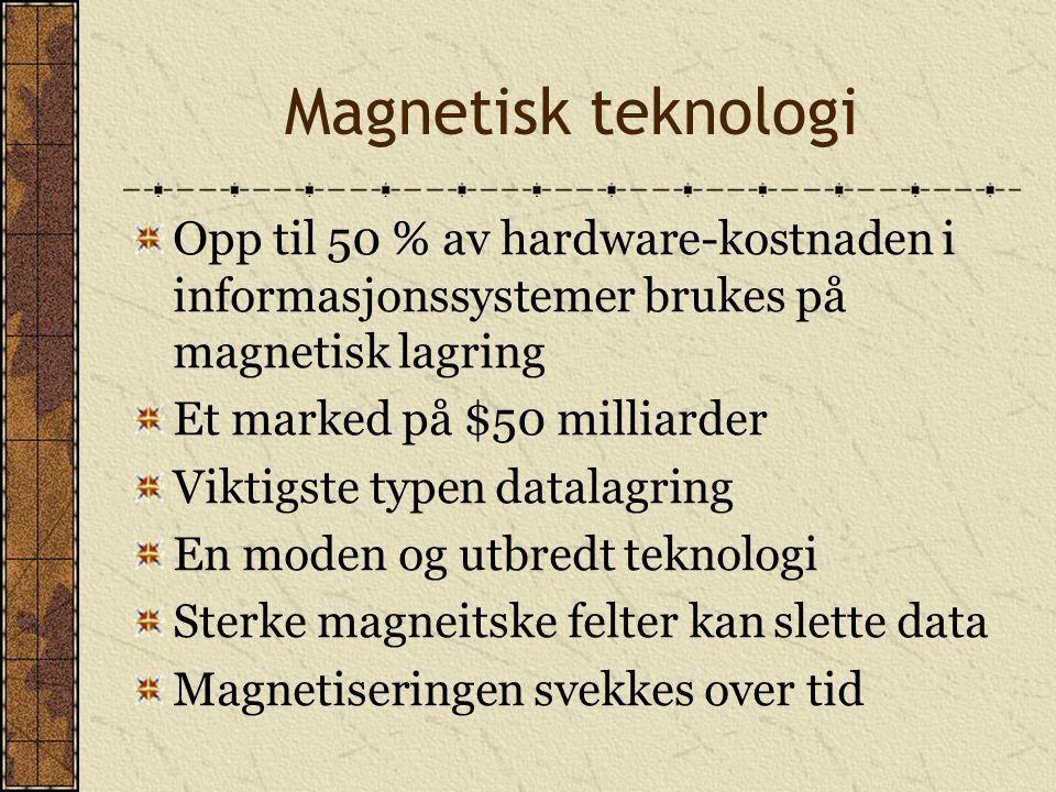 Magnetisk teknologi Opp til 50 % av hardware-kostnaden i informasjonssystemer brukes på magnetisk lagring Et marked på $50 milliarder Viktigste typen