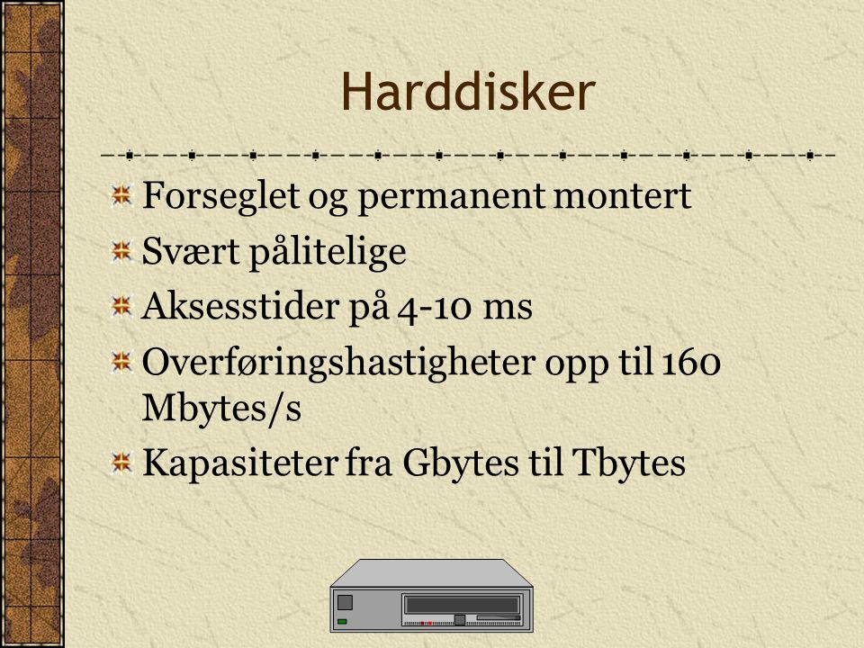 Harddisker Forseglet og permanent montert Svært pålitelige Aksesstider på 4-10 ms Overføringshastigheter opp til 160 Mbytes/s Kapasiteter fra Gbytes t