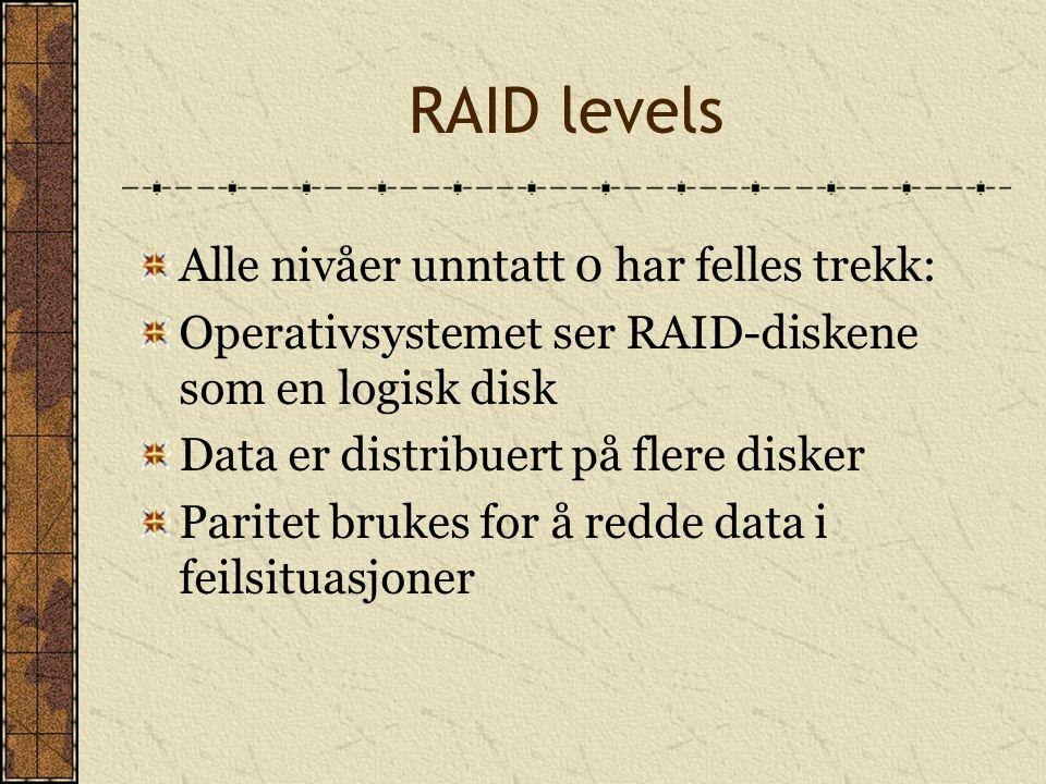 RAID levels Alle nivåer unntatt 0 har felles trekk: Operativsystemet ser RAID-diskene som en logisk disk Data er distribuert på flere disker Paritet b