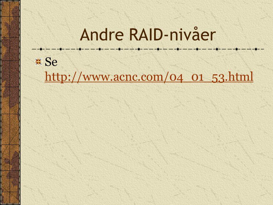 Andre RAID-nivåer Se http://www.acnc.com/04_01_53.html http://www.acnc.com/04_01_53.html