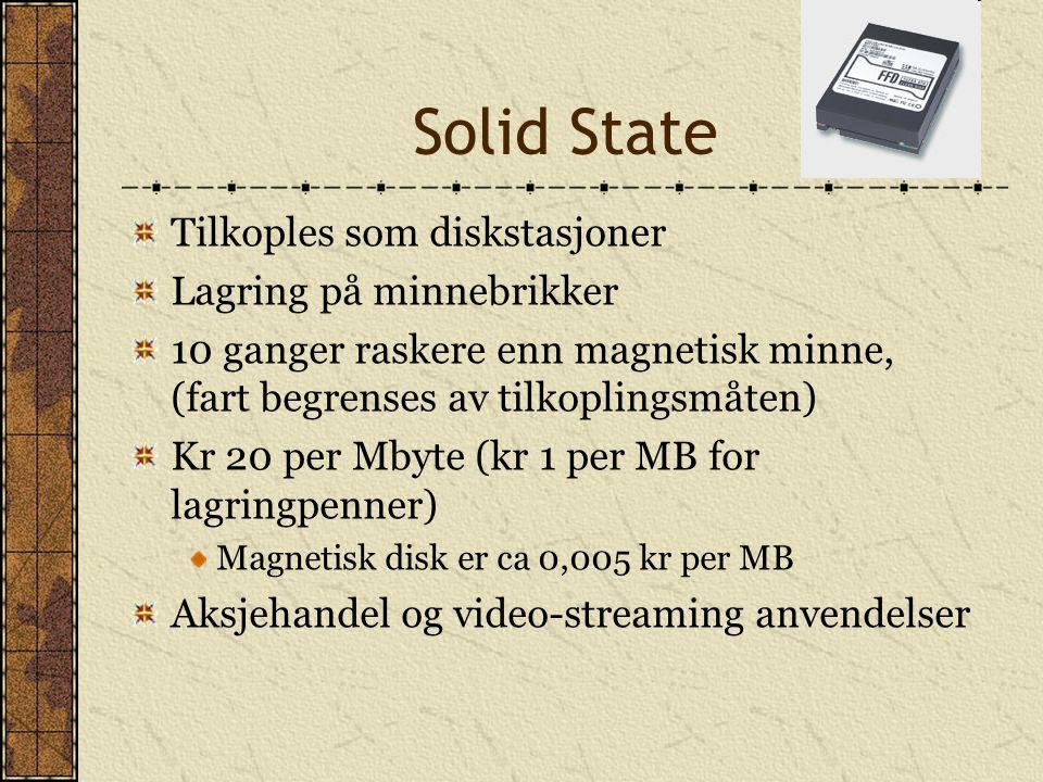 Solid State Tilkoples som diskstasjoner Lagring på minnebrikker 10 ganger raskere enn magnetisk minne, (fart begrenses av tilkoplingsmåten) Kr 20 per