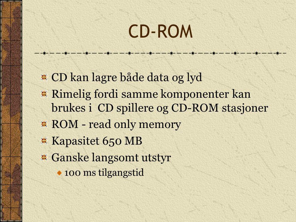 CD-ROM CD kan lagre både data og lyd Rimelig fordi samme komponenter kan brukes i CD spillere og CD-ROM stasjoner ROM - read only memory Kapasitet 650
