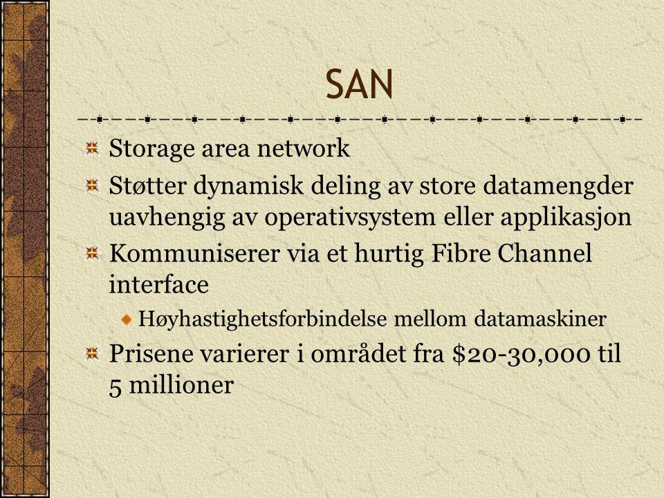 SAN Storage area network Støtter dynamisk deling av store datamengder uavhengig av operativsystem eller applikasjon Kommuniserer via et hurtig Fibre C