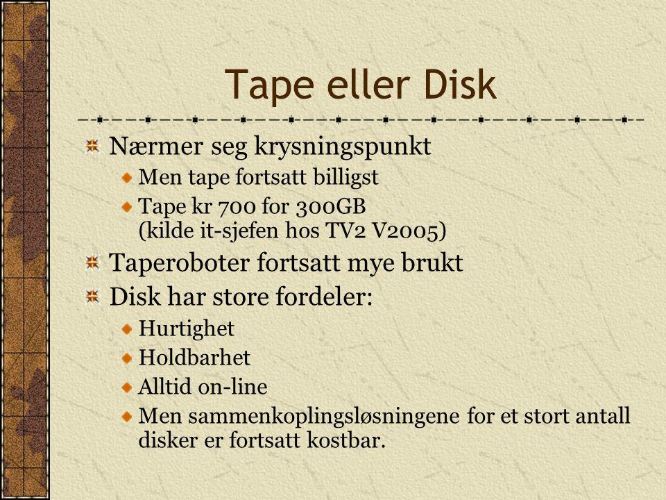Tape eller Disk Nærmer seg krysningspunkt Men tape fortsatt billigst Tape kr 700 for 300GB (kilde it-sjefen hos TV2 V2005) Taperoboter fortsatt mye br