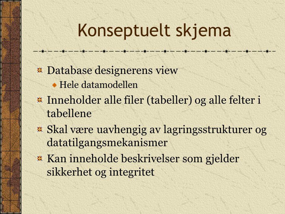 Konseptuelt skjema Database designerens view Hele datamodellen Inneholder alle filer (tabeller) og alle felter i tabellene Skal være uavhengig av lagr