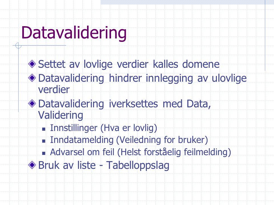 Datavalidering Settet av lovlige verdier kalles domene Datavalidering hindrer innlegging av ulovlige verdier Datavalidering iverksettes med Data, Vali