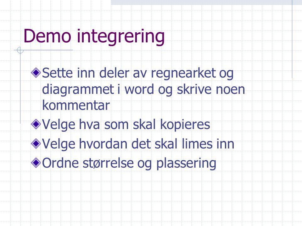 Demo integrering Sette inn deler av regnearket og diagrammet i word og skrive noen kommentar Velge hva som skal kopieres Velge hvordan det skal limes