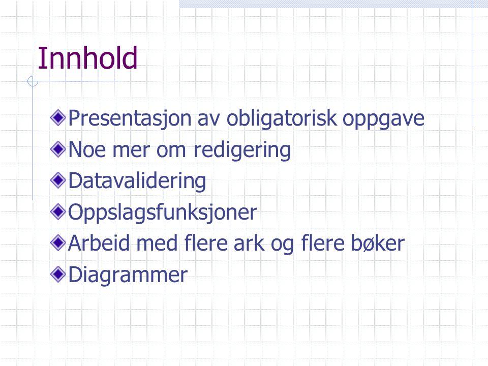 Innhold Presentasjon av obligatorisk oppgave Noe mer om redigering Datavalidering Oppslagsfunksjoner Arbeid med flere ark og flere bøker Diagrammer