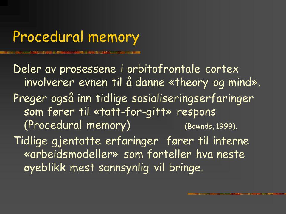 Procedural memory Deler av prosessene i orbitofrontale cortex involverer evnen til å danne «theory og mind». Preger også inn tidlige sosialiseringserf