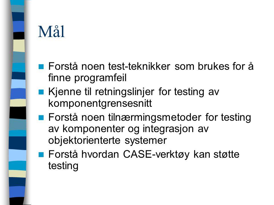 Introduksjon Testfaser Komponenttesting vs.