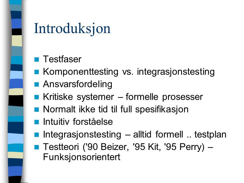 Introduksjon Testfaser Komponenttesting vs. integrasjonstesting Ansvarsfordeling Kritiske systemer – formelle prosesser Normalt ikke tid til full spes