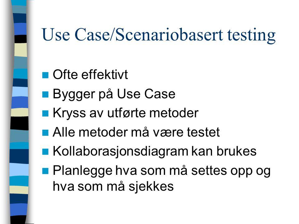 Use Case/Scenariobasert testing Ofte effektivt Bygger på Use Case Kryss av utførte metoder Alle metoder må være testet Kollaborasjonsdiagram kan bruke