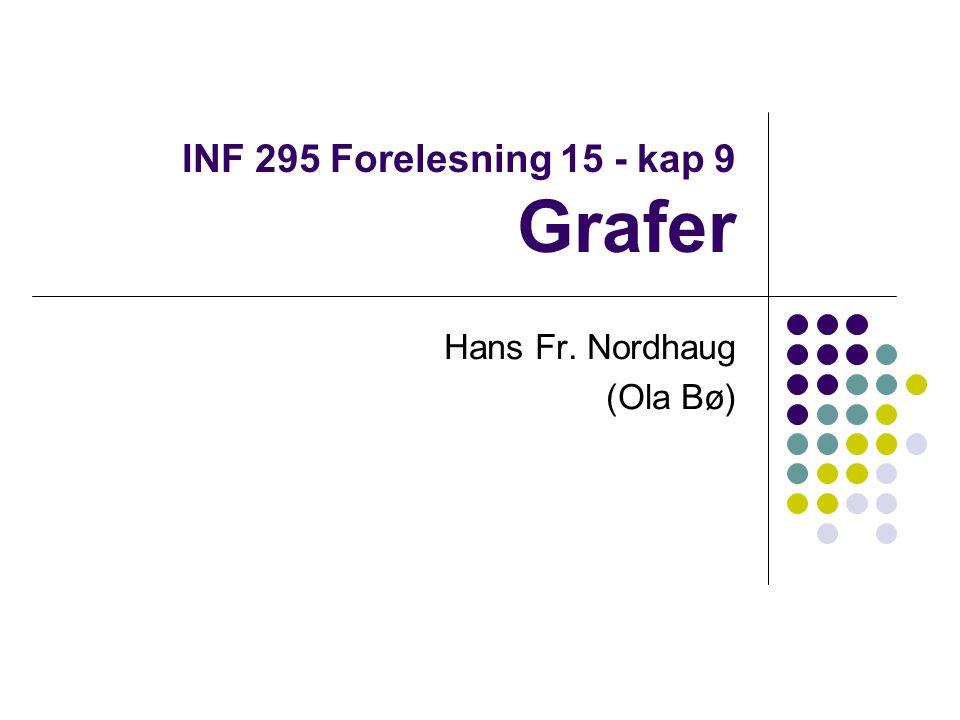 INF 295 Forelesning 15 - kap 9 Grafer Hans Fr. Nordhaug (Ola Bø)