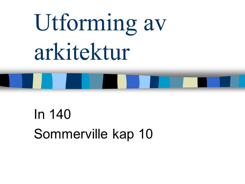 Utforming av arkitektur In 140 Sommerville kap 10