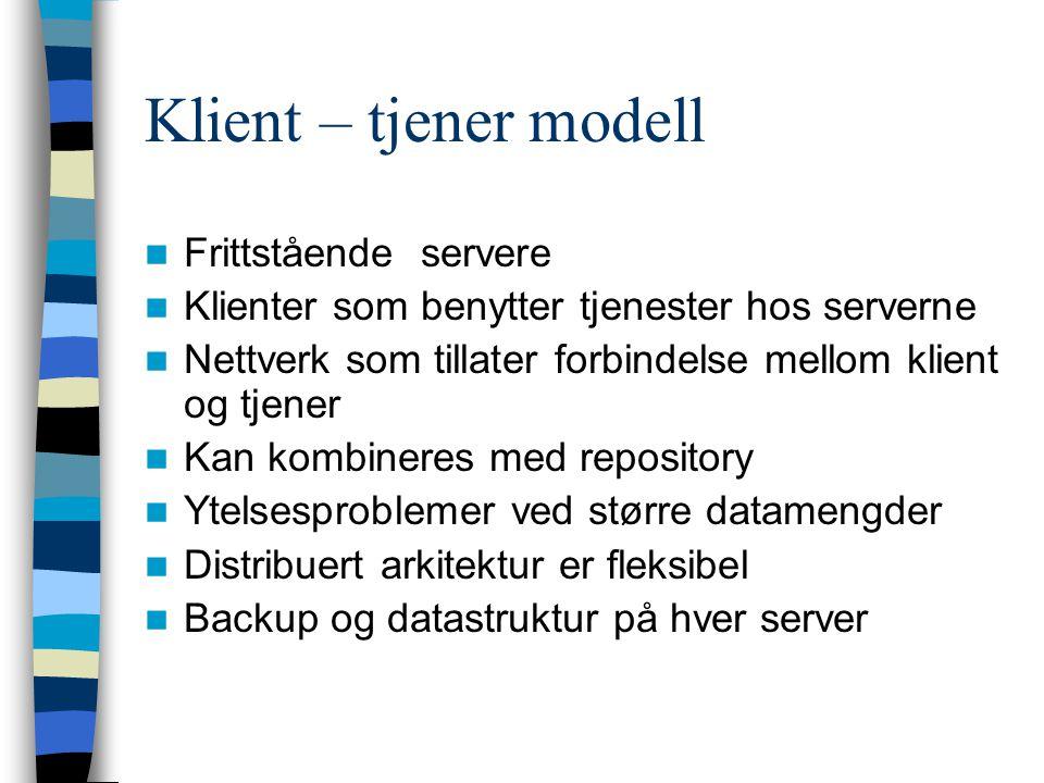 Klient – tjener modell Frittstående servere Klienter som benytter tjenester hos serverne Nettverk som tillater forbindelse mellom klient og tjener Kan
