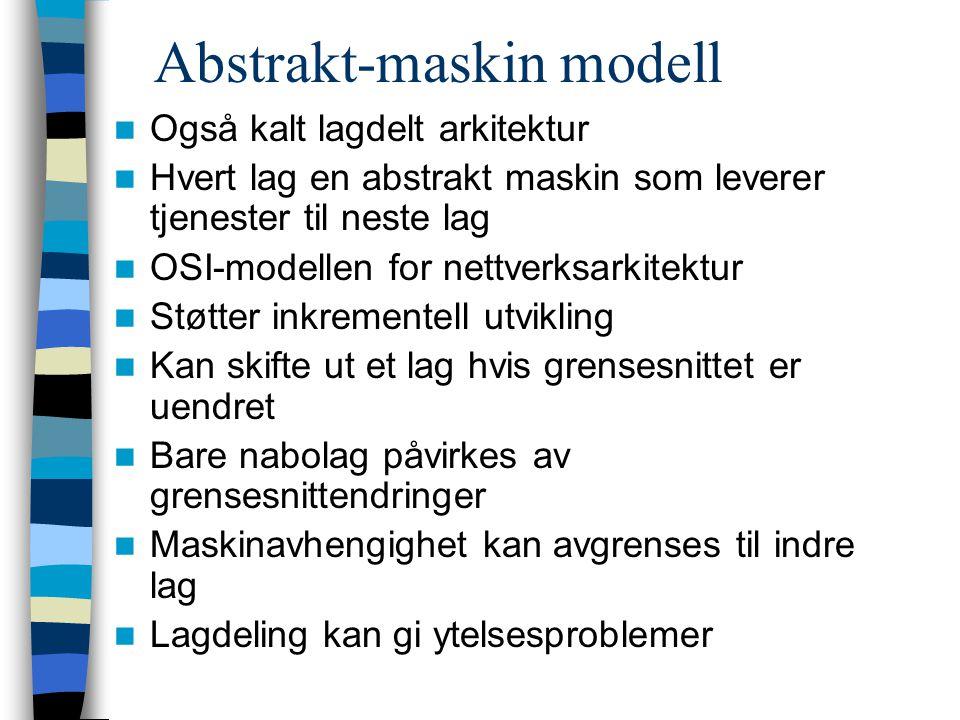 Abstrakt-maskin modell Også kalt lagdelt arkitektur Hvert lag en abstrakt maskin som leverer tjenester til neste lag OSI-modellen for nettverksarkitek