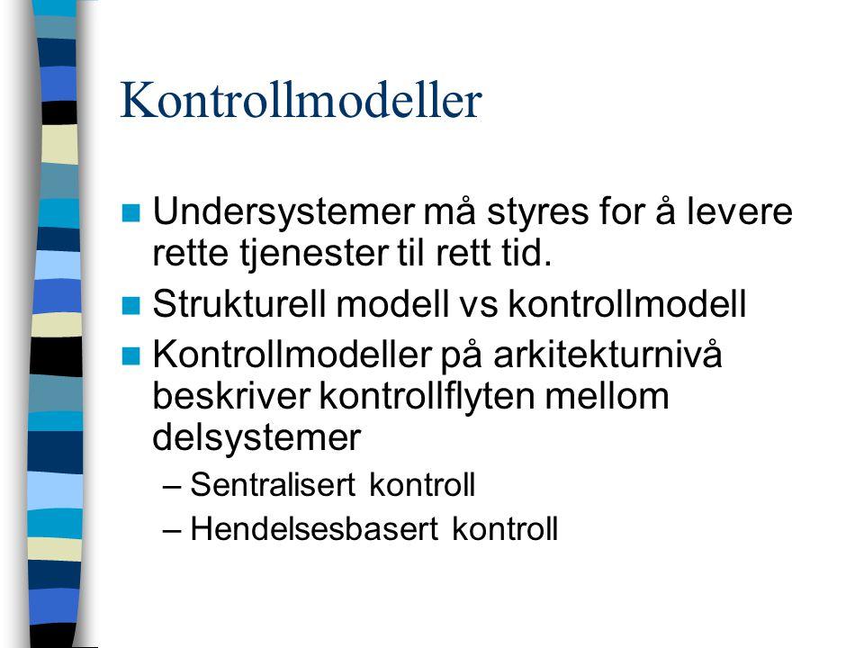 Kontrollmodeller Undersystemer må styres for å levere rette tjenester til rett tid. Strukturell modell vs kontrollmodell Kontrollmodeller på arkitektu