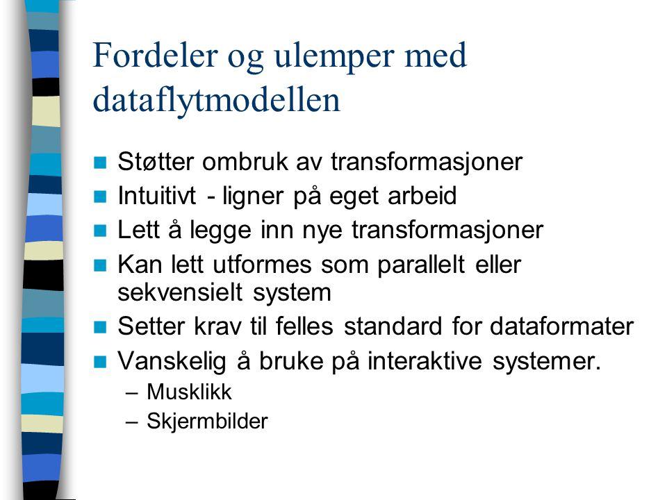 Fordeler og ulemper med dataflytmodellen Støtter ombruk av transformasjoner Intuitivt - ligner på eget arbeid Lett å legge inn nye transformasjoner Ka