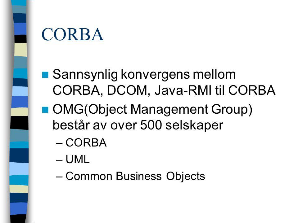 CORBA Sannsynlig konvergens mellom CORBA, DCOM, Java-RMI til CORBA OMG(Object Management Group) består av over 500 selskaper –CORBA –UML –Common Business Objects