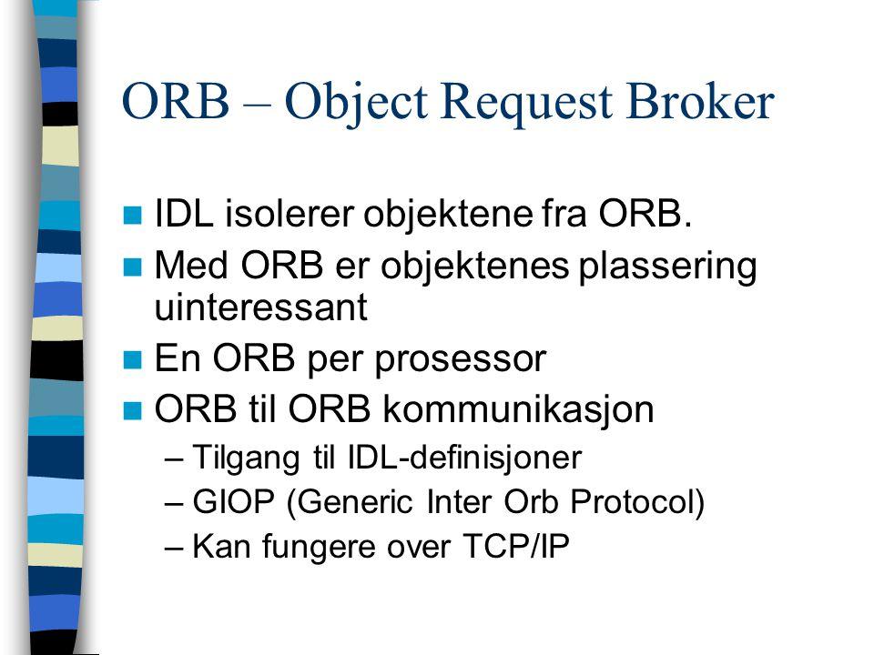 ORB – Object Request Broker IDL isolerer objektene fra ORB.