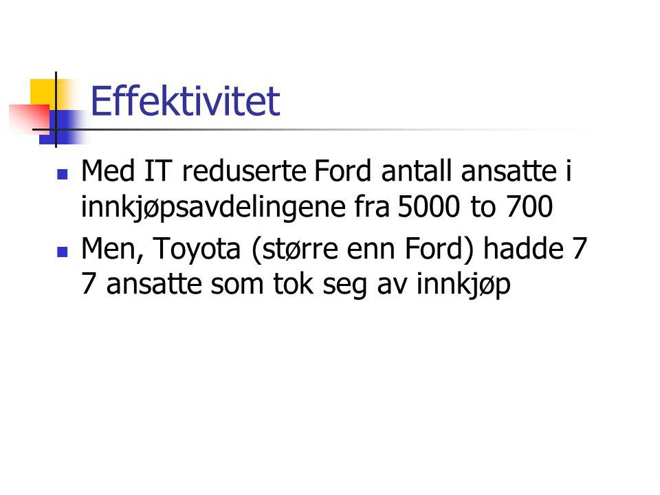Med IT reduserte Ford antall ansatte i innkjøpsavdelingene fra 5000 to 700 Men, Toyota (større enn Ford) hadde 7 7 ansatte som tok seg av innkjøp Effektivitet