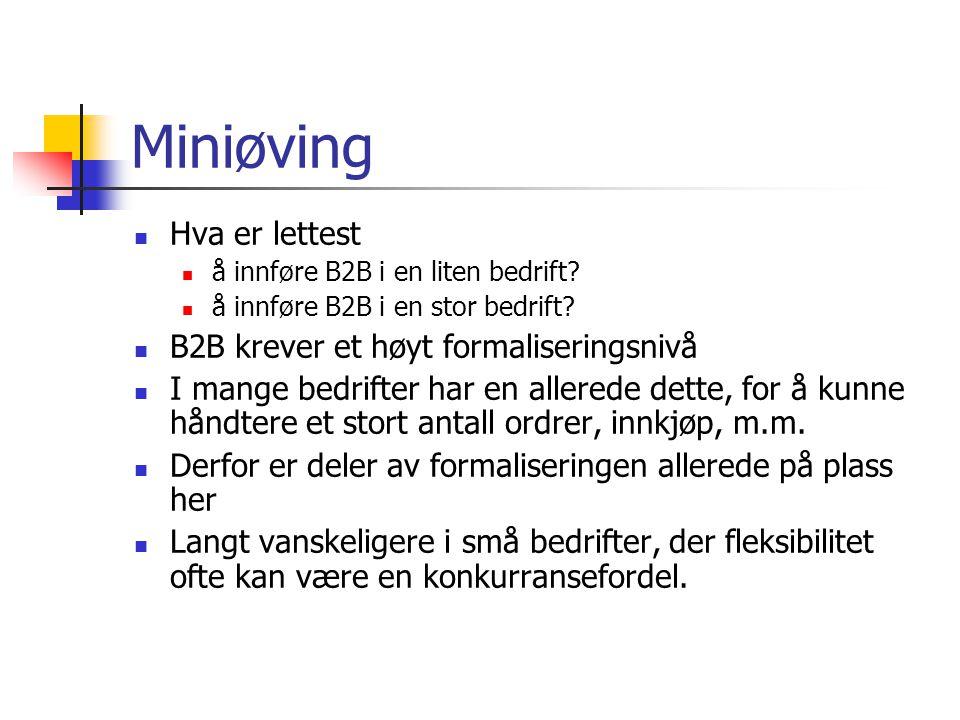 Miniøving Hva er lettest å innføre B2B i en liten bedrift.