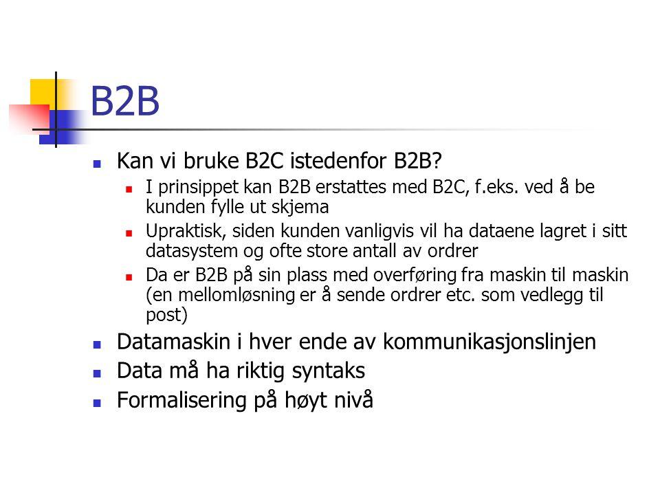 B2B Kan vi bruke B2C istedenfor B2B. I prinsippet kan B2B erstattes med B2C, f.eks.