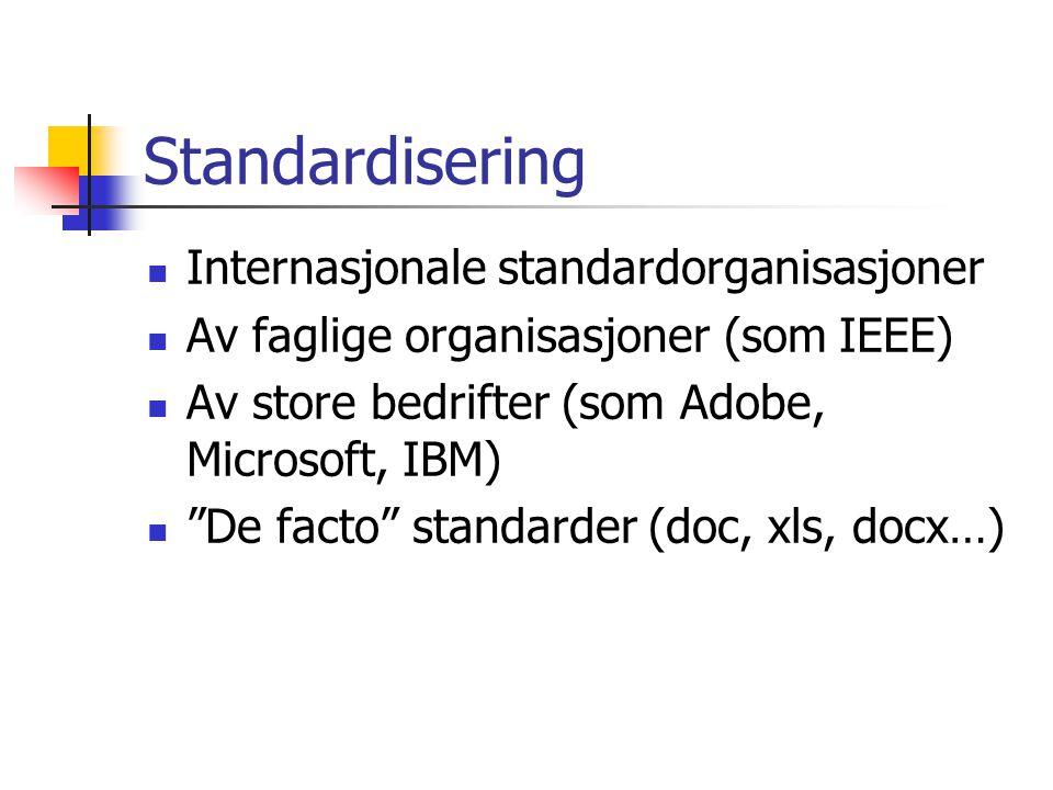 Standardisering Internasjonale standardorganisasjoner Av faglige organisasjoner (som IEEE) Av store bedrifter (som Adobe, Microsoft, IBM) De facto standarder (doc, xls, docx…)