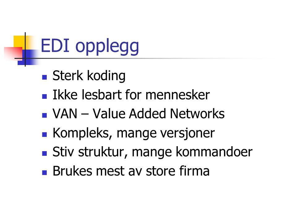 EDI opplegg Sterk koding Ikke lesbart for mennesker VAN – Value Added Networks Kompleks, mange versjoner Stiv struktur, mange kommandoer Brukes mest av store firma