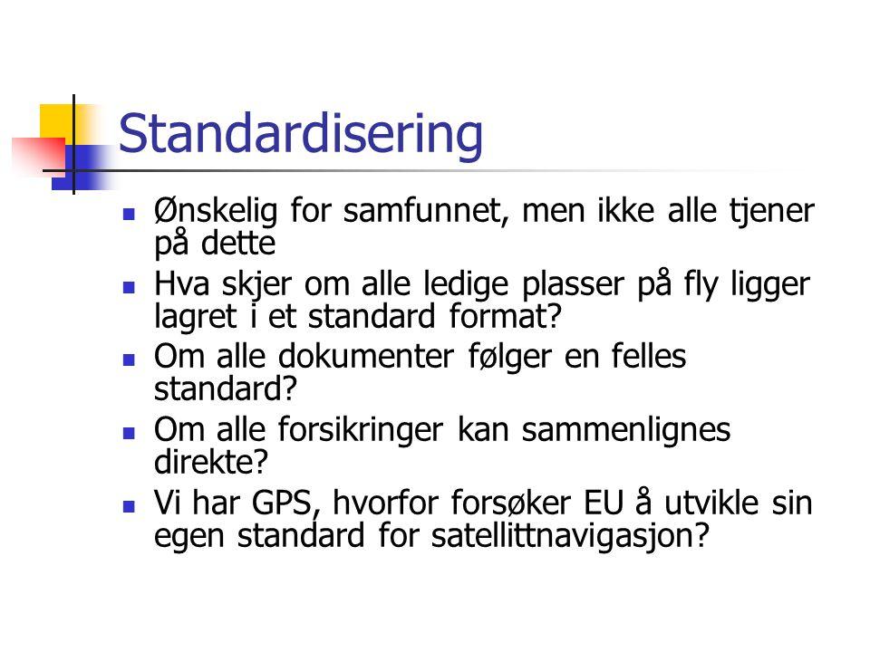 Standardisering Ønskelig for samfunnet, men ikke alle tjener på dette Hva skjer om alle ledige plasser på fly ligger lagret i et standard format.