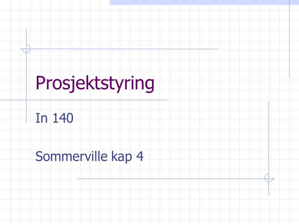 Prosjektstyring In 140 Sommerville kap 4