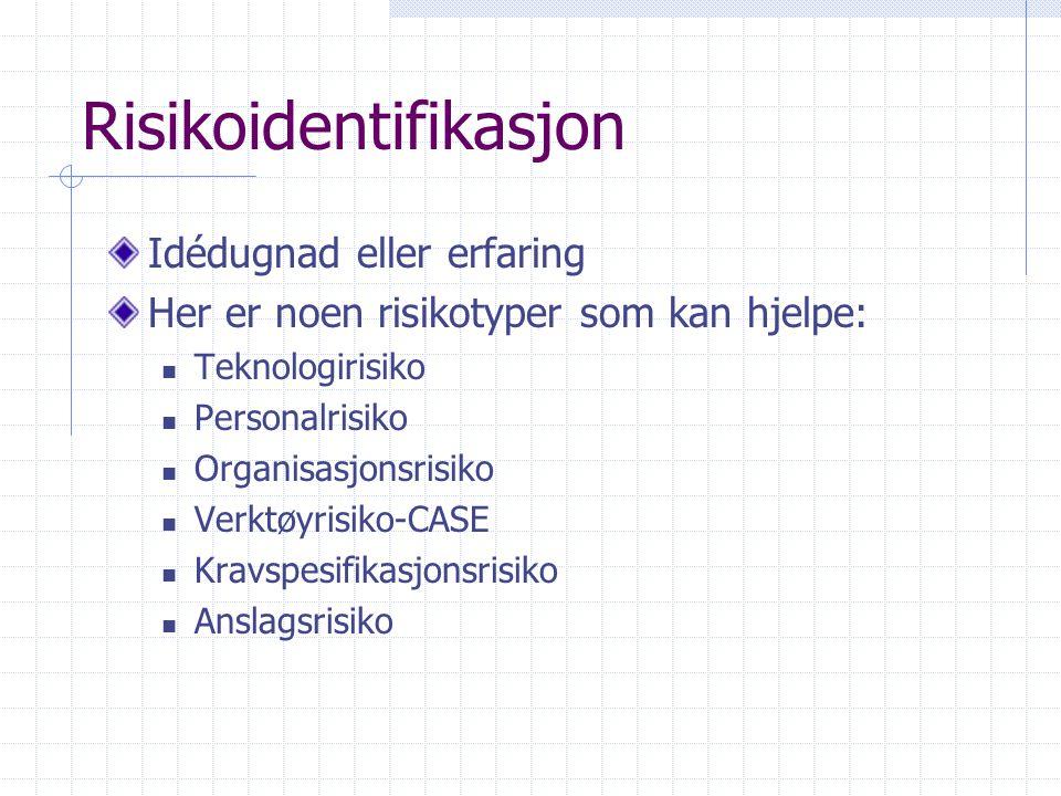 Risikoidentifikasjon Idédugnad eller erfaring Her er noen risikotyper som kan hjelpe: Teknologirisiko Personalrisiko Organisasjonsrisiko Verktøyrisiko