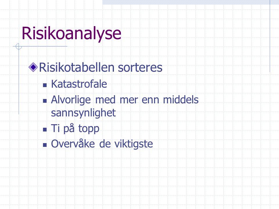 Risikoanalyse Risikotabellen sorteres Katastrofale Alvorlige med mer enn middels sannsynlighet Ti på topp Overvåke de viktigste