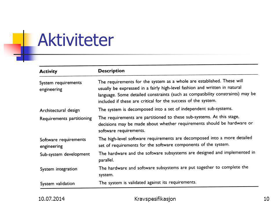 10.07.2014Kravspesifikasjon10 Aktiviteter