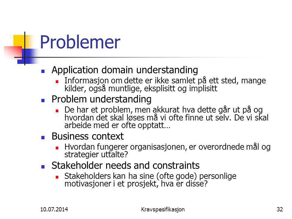 10.07.2014Kravspesifikasjon32 Problemer Application domain understanding Informasjon om dette er ikke samlet på ett sted, mange kilder, også muntlige, eksplisitt og implisitt Problem understanding De har et problem, men akkurat hva dette går ut på og hvordan det skal løses må vi ofte finne ut selv.