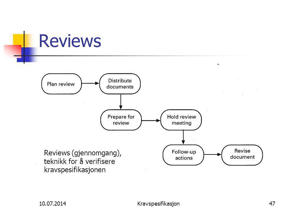 10.07.2014Kravspesifikasjon47 Reviews Reviews (gjennomgang), teknikk for å verifisere kravspesifikasjonen