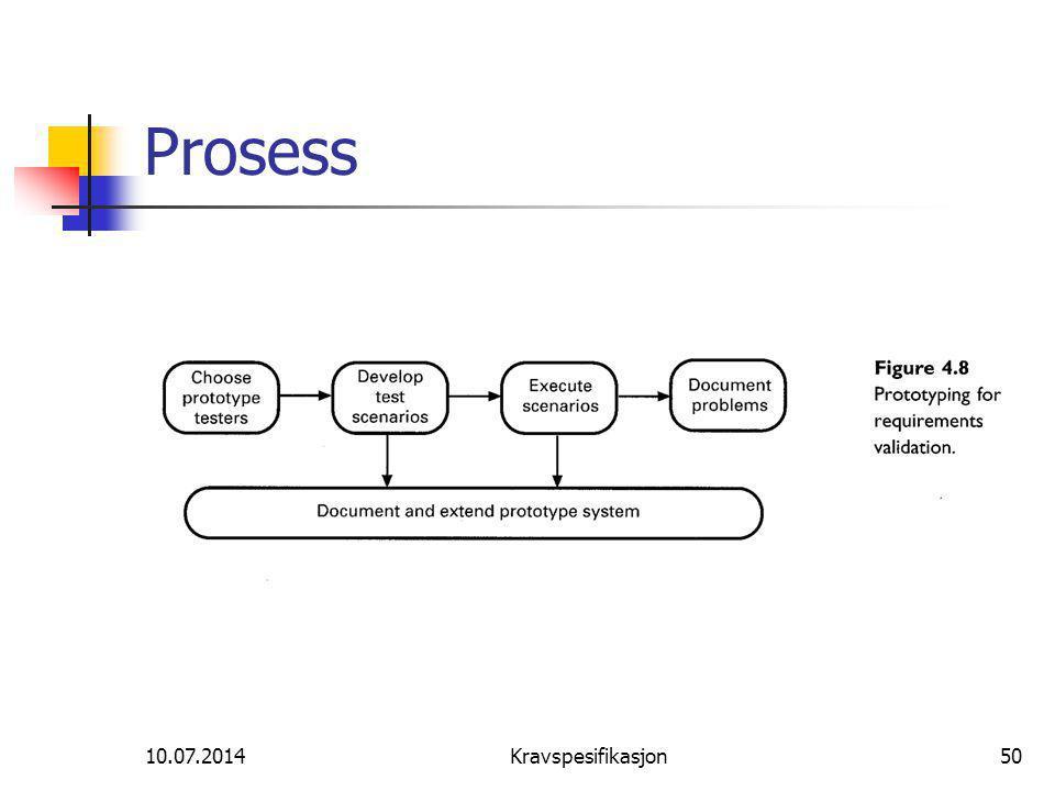 10.07.2014Kravspesifikasjon50 Prosess