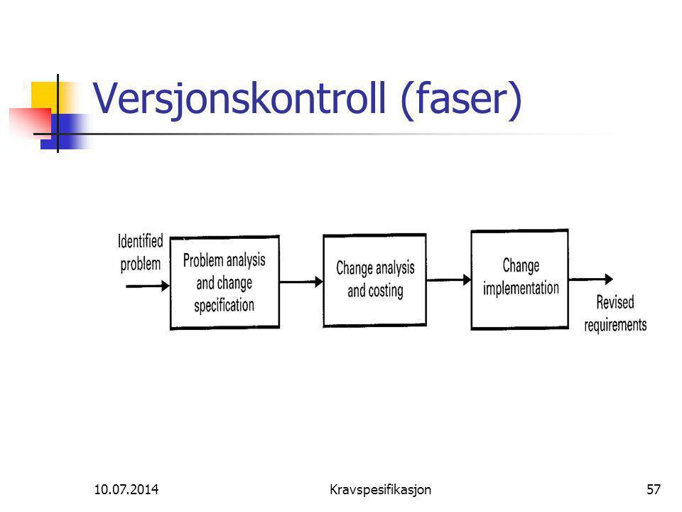 10.07.2014Kravspesifikasjon57 Versjonskontroll (faser)