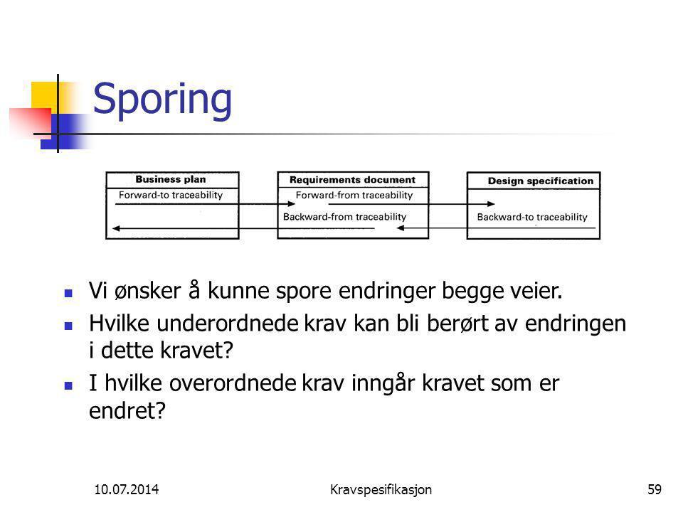 10.07.2014Kravspesifikasjon59 Sporing Vi ønsker å kunne spore endringer begge veier.