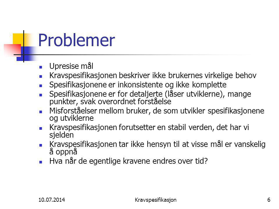 10.07.2014Kravspesifikasjon37 Analyse /forhandlinger
