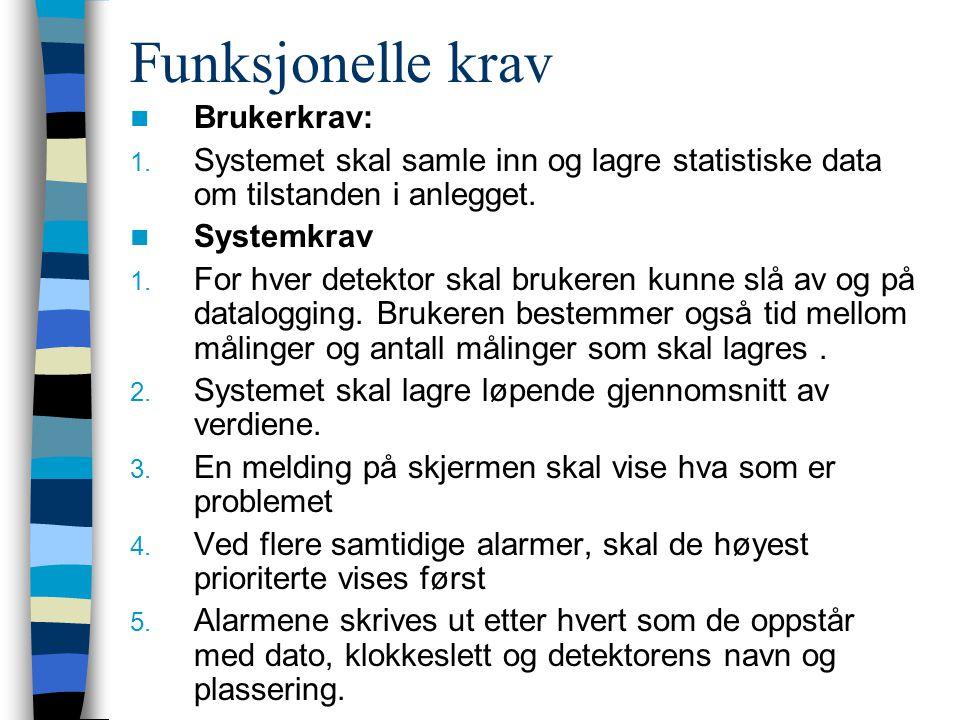 Funksjonelle krav Brukerkrav: 1. Systemet skal samle inn og lagre statistiske data om tilstanden i anlegget. Systemkrav 1. For hver detektor skal bruk